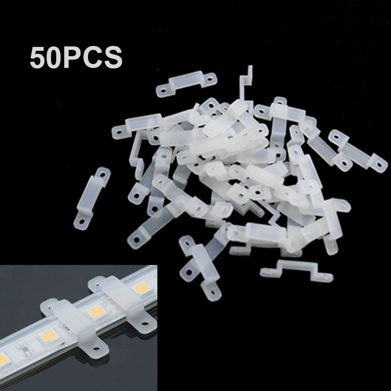 50pcs Silicone Fixer Clips Bracket Holders For 5050 LED Strip 10mm 14mm 17mm Mount 3528 Wholesale Plastic RGB Light Single Color