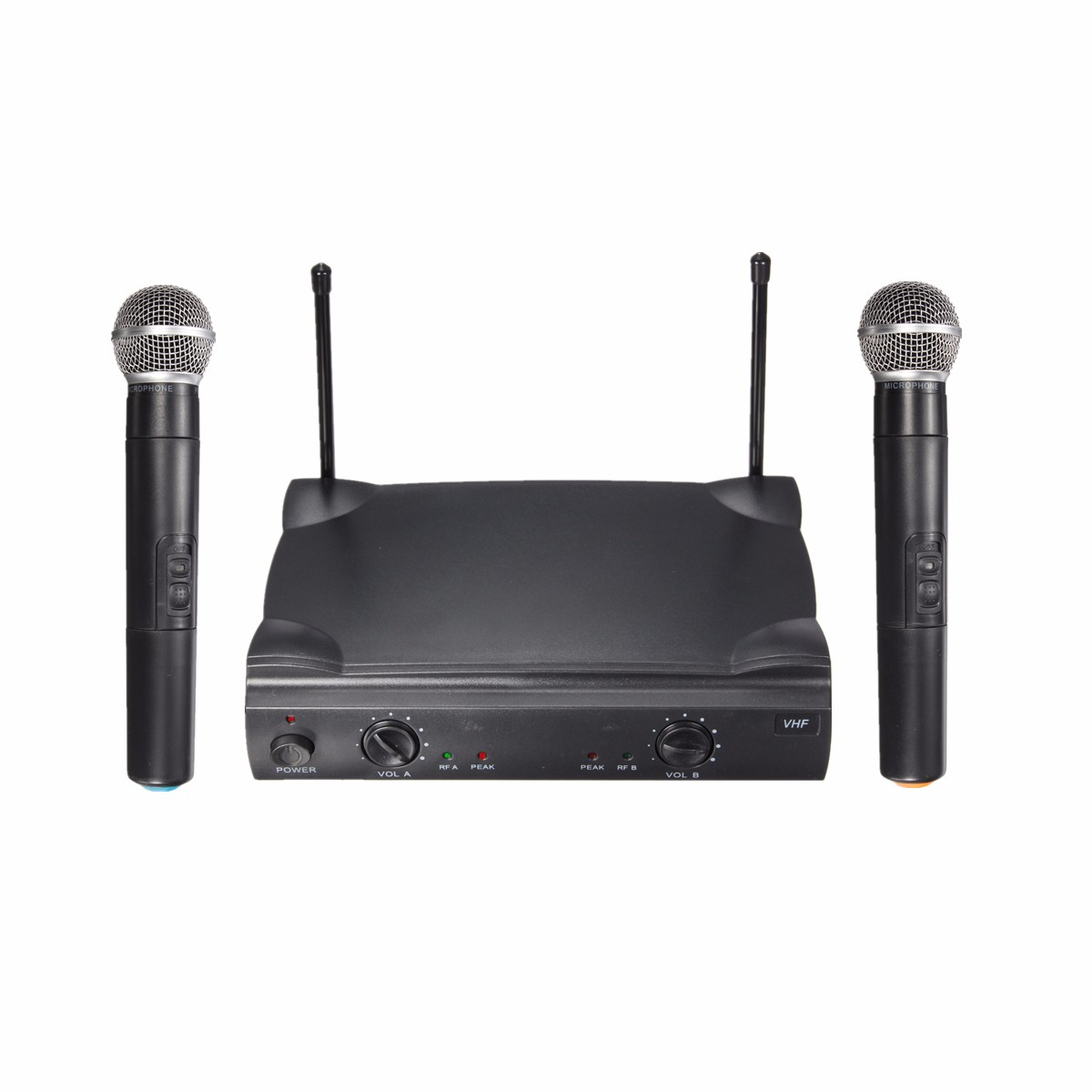 dual vhf professional wireless microphone system cordless handheld with receiver for kareoke. Black Bedroom Furniture Sets. Home Design Ideas