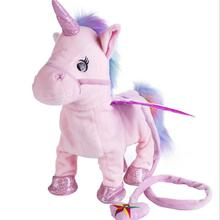 Cute Infant Unicorn Leash Flying Horse Doll Can Walk Sing Electric Dragon Horse Plush Toy for Children Kids Christmas Gifts