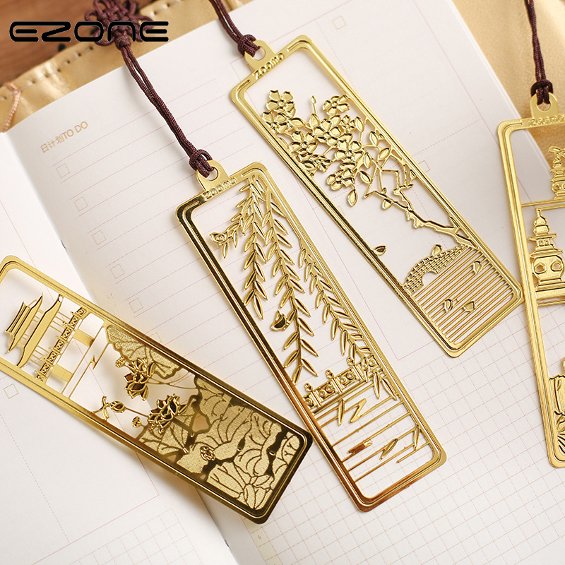 EZONE Classical Flower Hollow Bookmark Vintage Metal Bookmark With Chinese Knot Multifunctional Stationery Material Escolar Gift