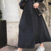 2018 Spring Autumn High Waist Knitting Skirt Long Thickening Buckle Women Skirts