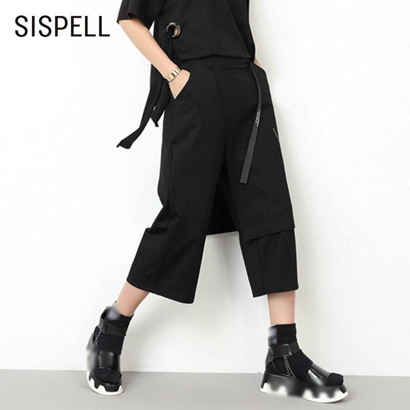 SISPELL Women's Calf Length   Pants   Elastic High Waist Patchwork Zippers Asymmetric Hem Print   Wide     Leg     Pants   For Women Autumn New