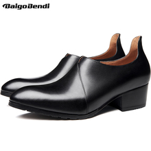 Hight End High Heeled Shoes Men Elegant Business Man Pointed Toe Heels Heightened Oxfords 5CM Office Leather