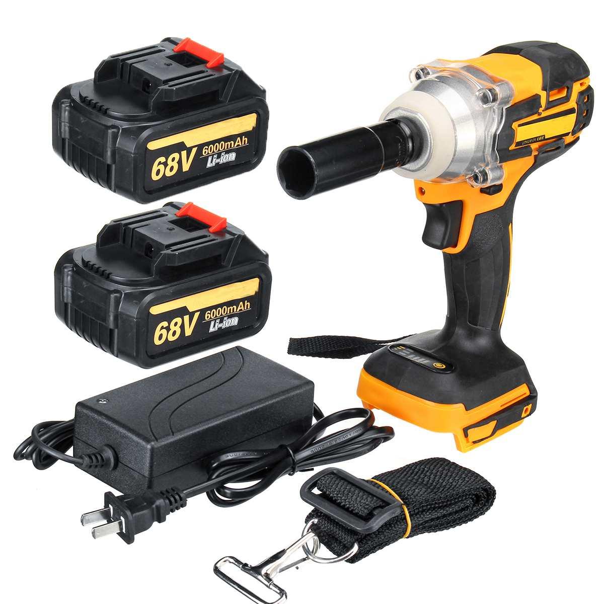 68 v 6000 mah 380nm bateria sem fio do motor sem escova 1/2 da chave de impacto elétrica do lítio-íon com ferramentas elétricas da carga