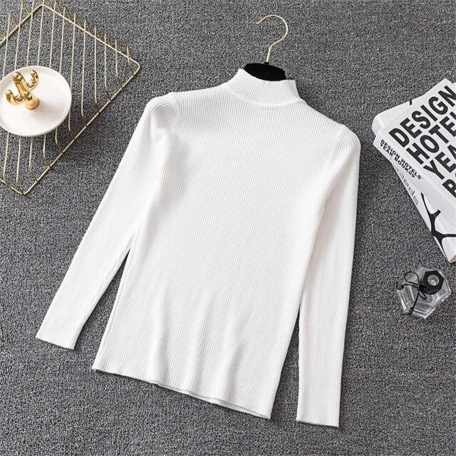 Hiver tricot pull pulls femmes à manches longues hauts col roulé tricoté pull Chic femme vêtements femme décontracté Streetwear