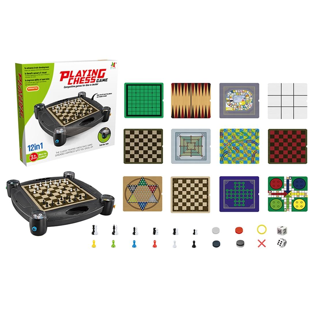 12-en-1 Enfants Jeu D'échecs Jeu de Société Jouet Ensemble avec Support pour les Enfants D'apprentissage et Éducatifs backgammon serpent jeu échelle