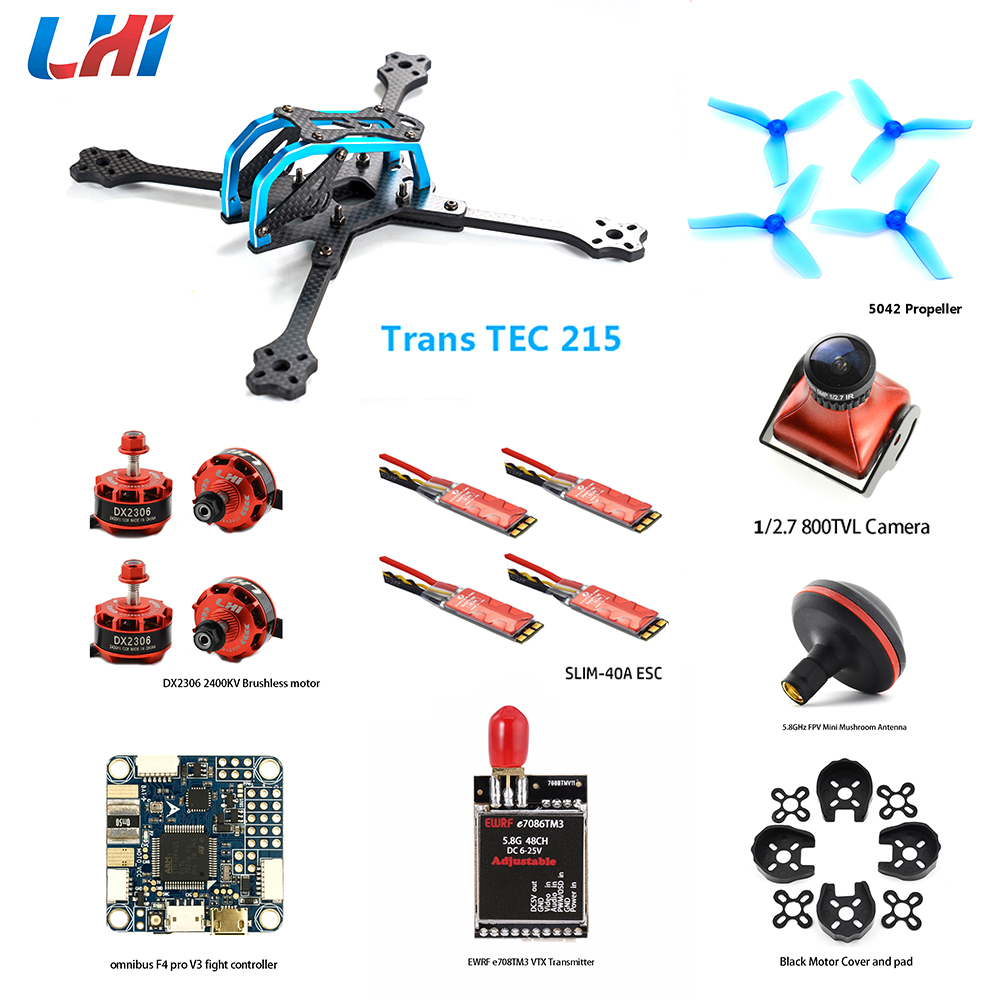 TransTEC 215 kit zangão com Câmera FPV Omnibus F4 pro controlador de Vôo V3 40A esc & motor brushless DX2306 para quadcopter quadro
