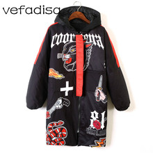 Vefadissa-Parka d'hiver pour femme, manteau imprimé de dessin animé, 5 styles, noir épais à capuche, manteau d'hiver en coton pour femme, Cuasel de Sport, 2020 DQ632
