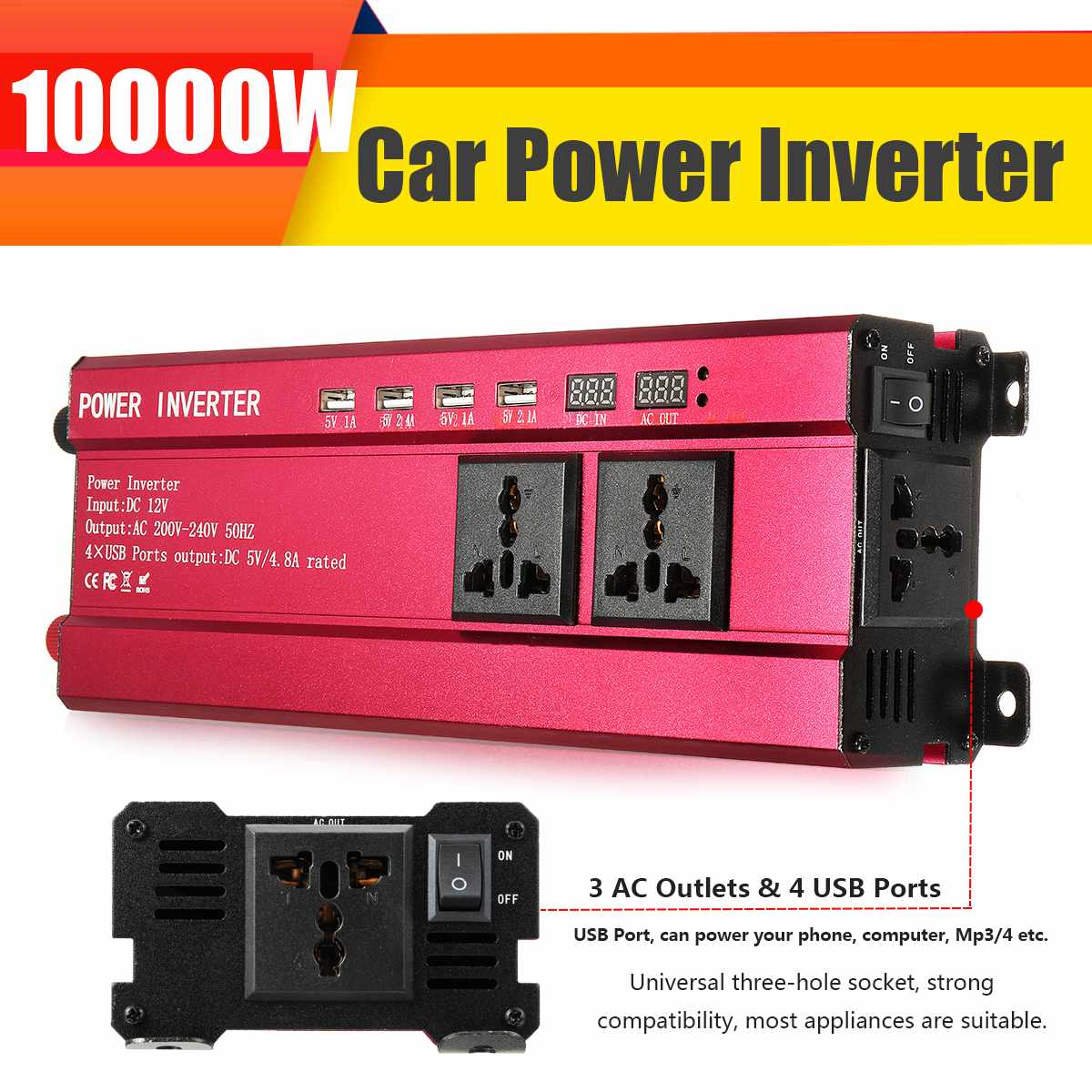 Inverter DC 12V AC 200-240V 10000W Peak- Modified Sine Wave Power Voltage Transformer USB Car Solar Power Inverter + LCD Display