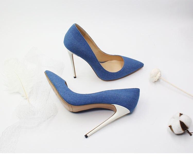 Venta caliente azul negro Denim puntiagudos zapatos de mujer tacones altos tacones blancos Slip on señoras vestido de novia zapatos de novia más tamaño - 5