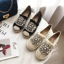 Весна-Осень ; эспадрильи; женские лоферы; соломенная обувь на плоской подошве в рыбацком стиле; подошва из пеньки; мягкая женская обувь из натуральной кожи