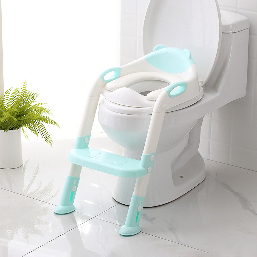 Folding Toilet Ladder Adjustable Universal Splash Resistant Trainer Seat Potty Baby Toilet Training With Removable Cushion Pad