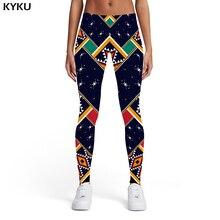 KYKU Brand Pattern Leggings Women Geometric Spandex Colorful 3d Print Gothic Trousers Retro Sexy Womens Pants Casual