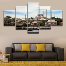 5 Panel Building Istanbul Mosque Canvas Printed Painting For Living Wall Art Home Decorative HD Picture Artwork Modern Poster