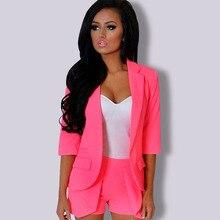 Spring Autumn Office Lady Formal Blazer Jacket Female Elegant Candy Color Orange