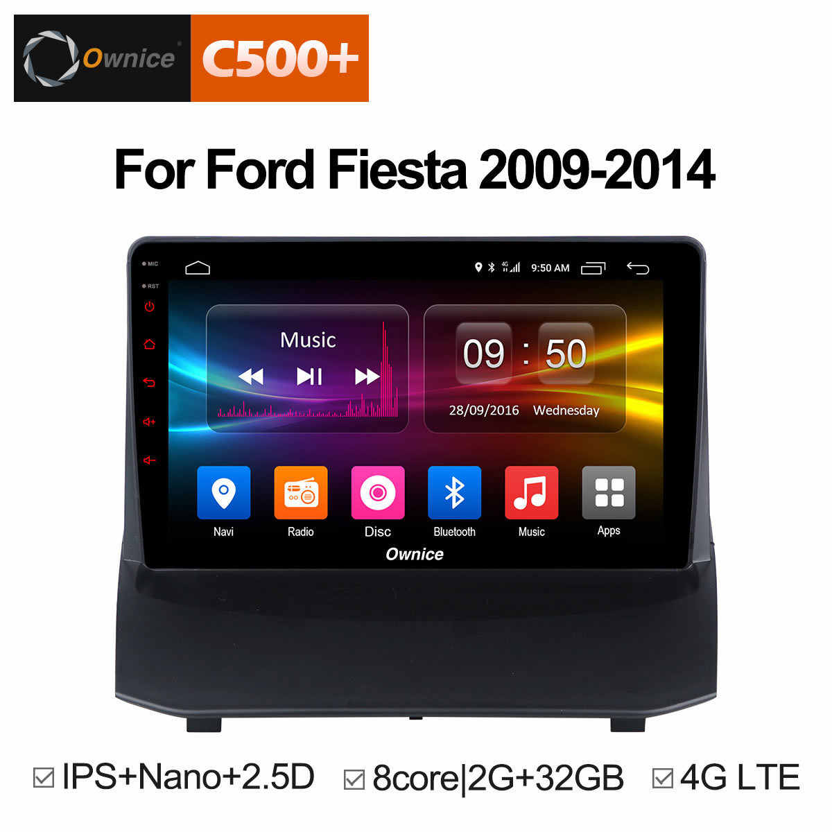 Ownice C500 + G10 Android 8.1 autoradio stereo voor Ford Fiesta 2009-2015 Octa core auto dvd GPS speler met 2G RAM, 32G ROM Audio
