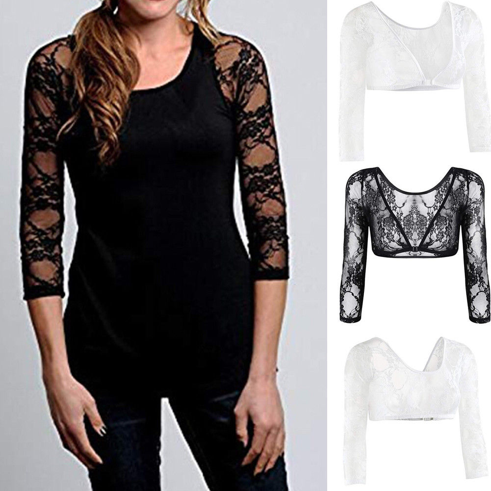 Summer Hot Women Lace T-Shirts Slimmer Long Sleeve Thinner Amazing Arms From Flab To Fab Lightweight Wrap Armwear Tops