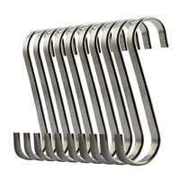 Set of 10 S Stainless Steel Suspension Hooks for Kitchen Cookware or Butcher Meat|Hooks & Rails| |  -