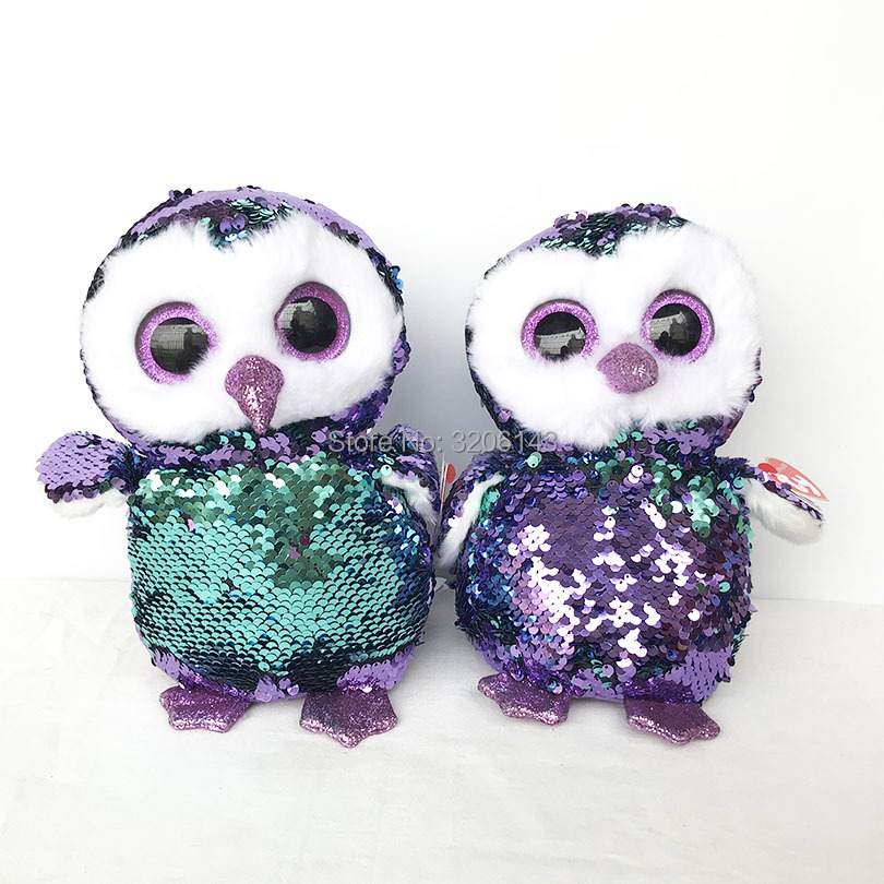 54b029217d8 25CM Ty Flippables Moonlight Purple Sequin Owl Beanie Boos Reversible  Sequin Limited Edition Soft Plush Doll Toys Christmas Gift-in Movies   TV  from Toys ...