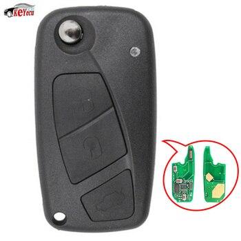 KEYECU 434 MHz PCF7946 Chip Vervanging 3 Knop Flip Afstandsbediening Auto Sleutelhanger voor Fiat Punto Ducato Stilo Panda Centrale zwart