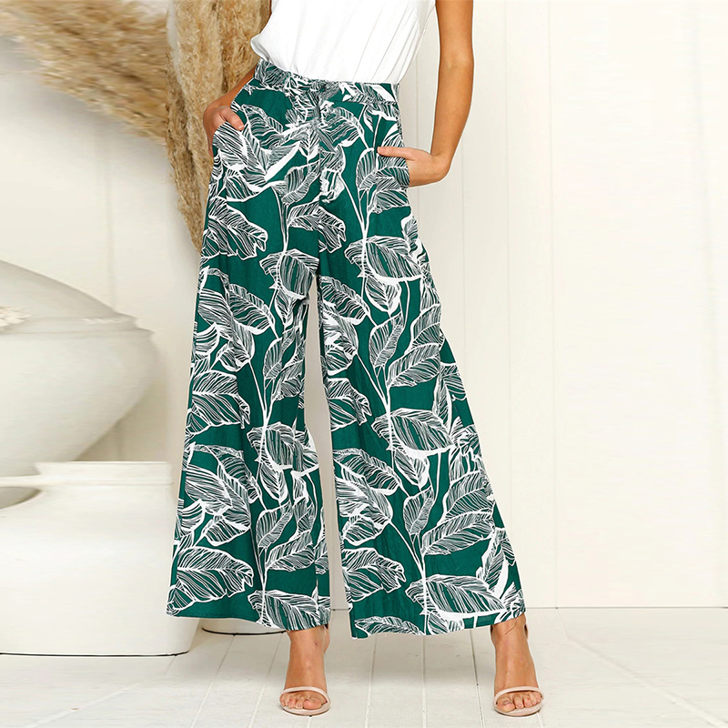 Summer Green Leaf Print   Wide     Leg     Pants   Women Bohemian Elastic High Waist Boho   Pants   Loose Ladies Trousers 2019 Pantalon Femme