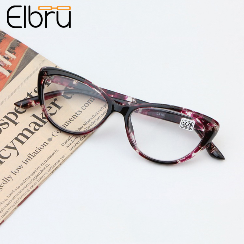 Elbru Fashion Cat Eye Reading Glasses Women Eyeglasses Presbyopic 1.0 1.25 1.5 1.75 2.0 2.25 2.5 2.75 3.0 3.25 3.5 3.75 4.0