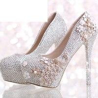 Роскошные свадебные туфли серебро горный хрусталь с феникс женская обувь на платформе Выпускной вечерние Обувь на высоких каблуках праздн