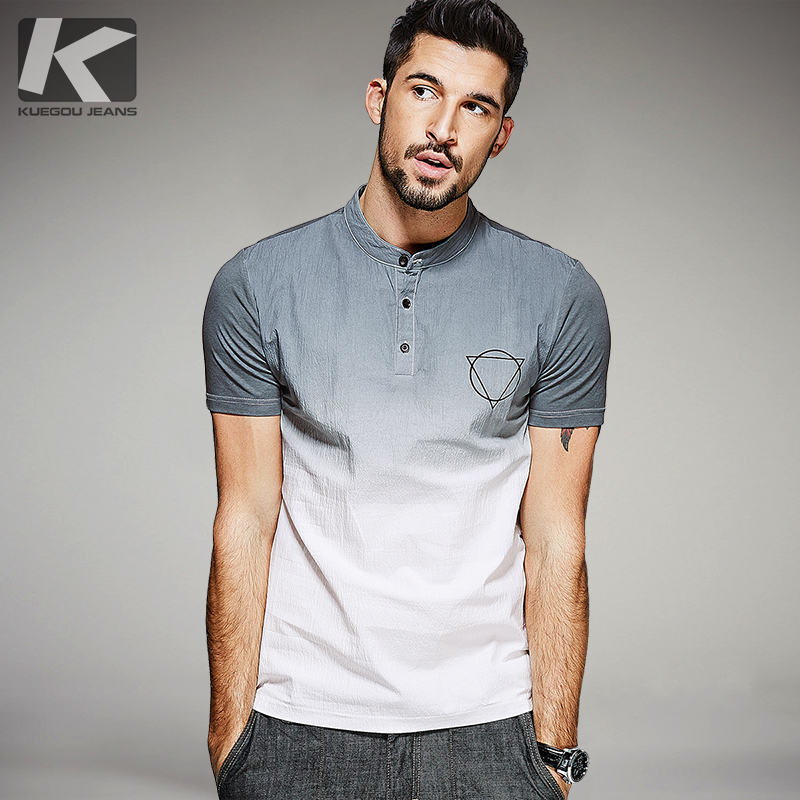 KUEGOU New Summer Mens Fashion Shirts Patchwork Gray blue Brand Clothing For Man's Short Sleeve Slim Fit Clothes Male Tops 0381