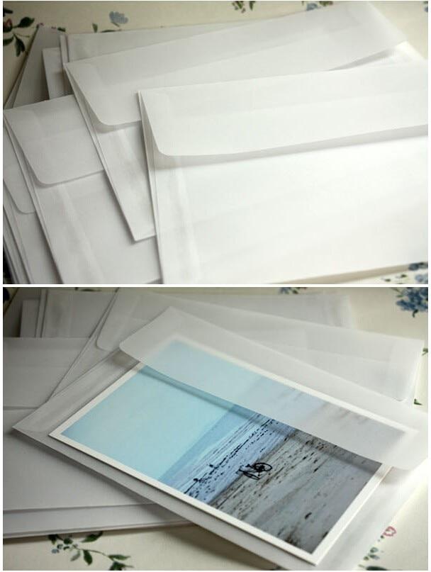 50 pcs lot Baru Korea Vintage Kosong Tembus vellum amplop DIY ... 9d91657b83ed