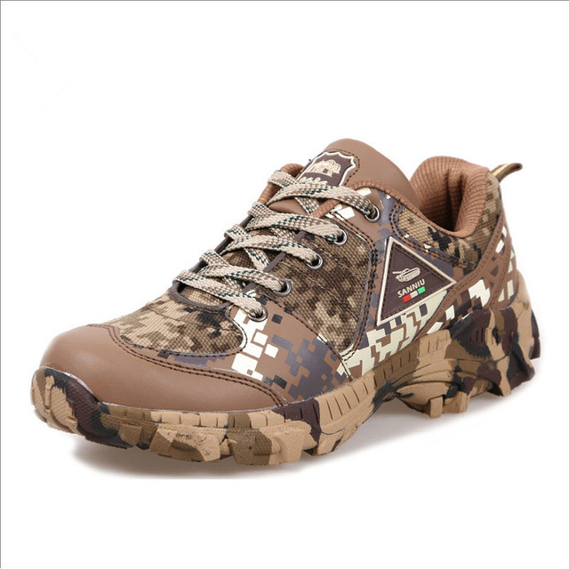 Spring Autumn Outdoor Climbing Camo Sneakers Shoes Men Hiking Hunting Camping Army Training Ultralight Breathable Sports Shoe 2