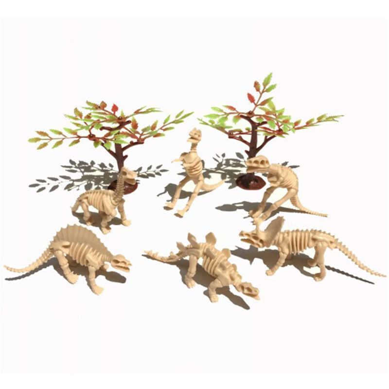 6 шт. ПВХ имитация скелет динозавра Bone модель скелета Декор игрушки для детей Рождественский подарок
