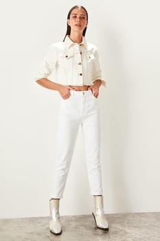 Trendyol białe wysokiej talii dżinsy dla mamy dorywczo obcisłe spodnie jeansowe ołówkowe TWOSS19LR0246 tanie i dobre opinie Kostki długości spodnie COTTON Na co dzień Zmiękczania Ołówek spodnie skinny Kobiety Wysoka Przycisk fly