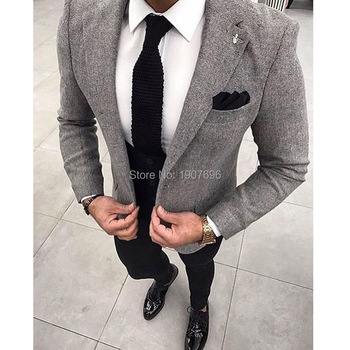 Woolen Slim Fit Men Suits 2019 3 Piece Gray Jacket Black Vest Pants for Prom Notoched Lapel Custom Made Wedding Txuedos