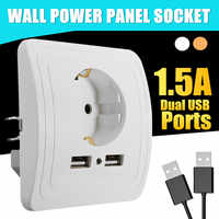 220V 50/60Hz Electric Wall Charger Adapter Socket Dual USB Port Power Outlet Panel EU Plug ABS Electrical Professional