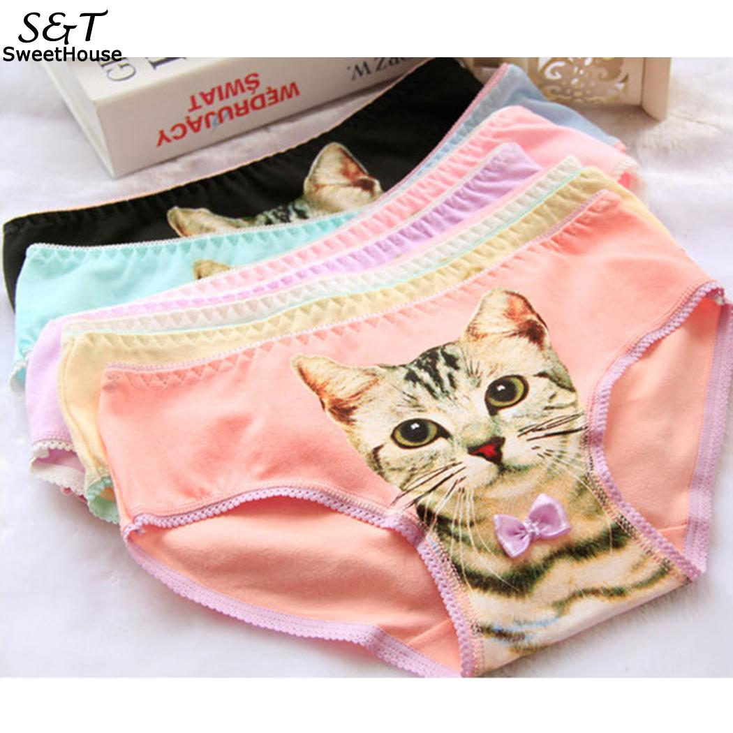 Underwear & Sleepwears Purposeful Fanala Sexy Women Lingerie Casual Cat Pattern Briefs Underwear Summer Seamless Panties Underpants Middle Waist