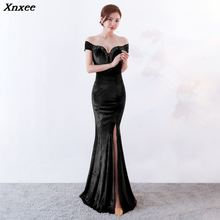 Xnxee Women Elegant Green Velvet Appliques Sexy V-Neck Off The Shoulder Long Mermaid Slim Slit Party Dress Celebrity Club