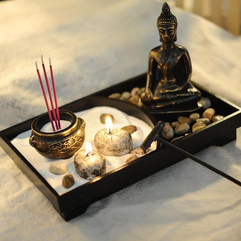 AUGKUN Statua di Buddha Zen Garden Sabbia Meditazione Pacifica Relax Decorazione Set Spirituale Buddha Bruciatore di Incenso Feng Shui Decorazione