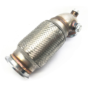 """Image 3 - 2.5"""" w/Flex bellow pipe stainless V Band Downpipe Low Profile 90 Degree"""