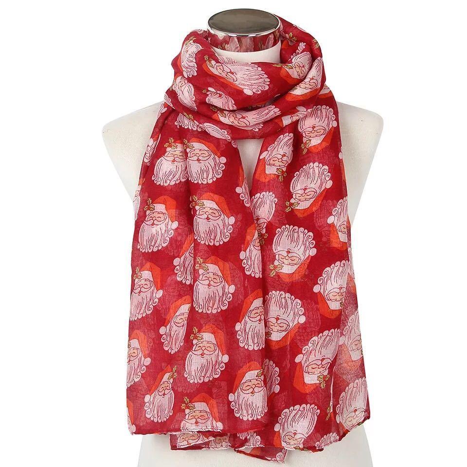 LARGE LADIES SOFT SANTA CLAUS PRINT FASHION SCARF *RED* BRAND NEW 100/%VISCOSE