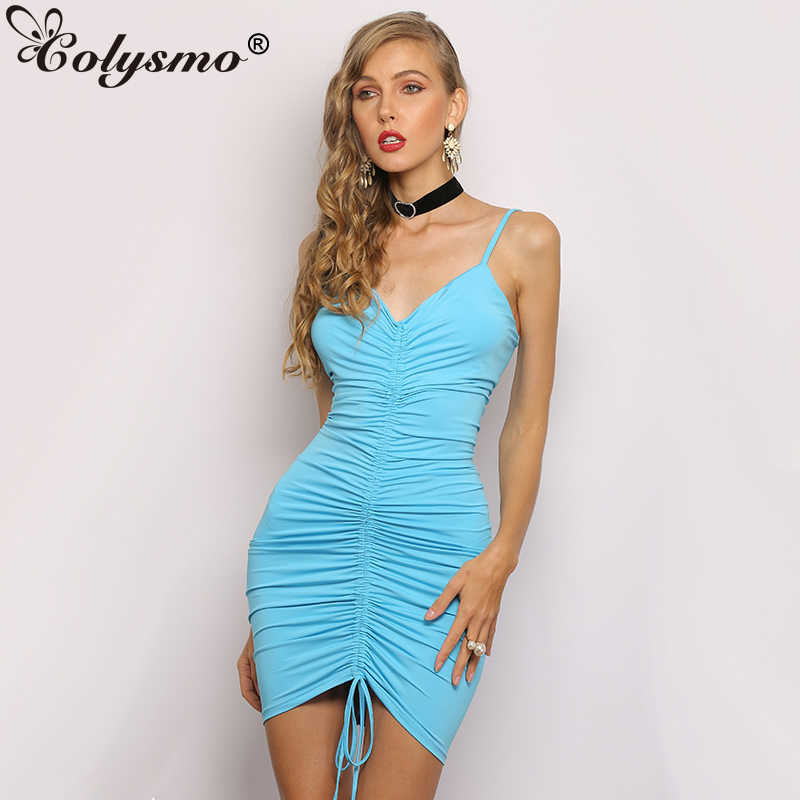 cc2023023f Colysmo Sexy Women Dress Summer Shirring Elegant Dresses Woman Party Night  Ruched Vintage Dress Blue Bodycon