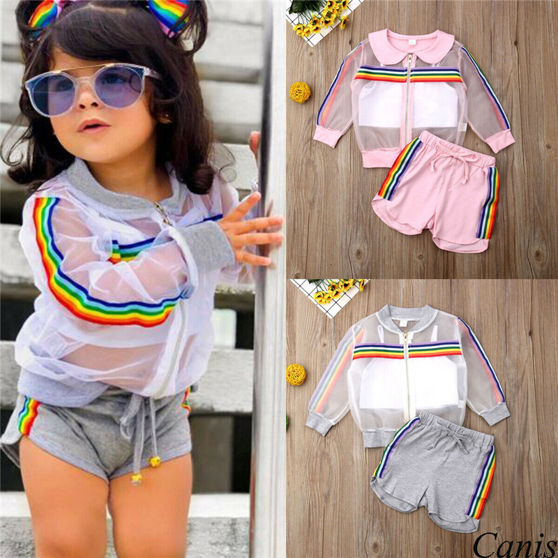 US Toddler Infant Baby Girl Rainbow Vest Top Dress Shorts Summer Outfit Clothes