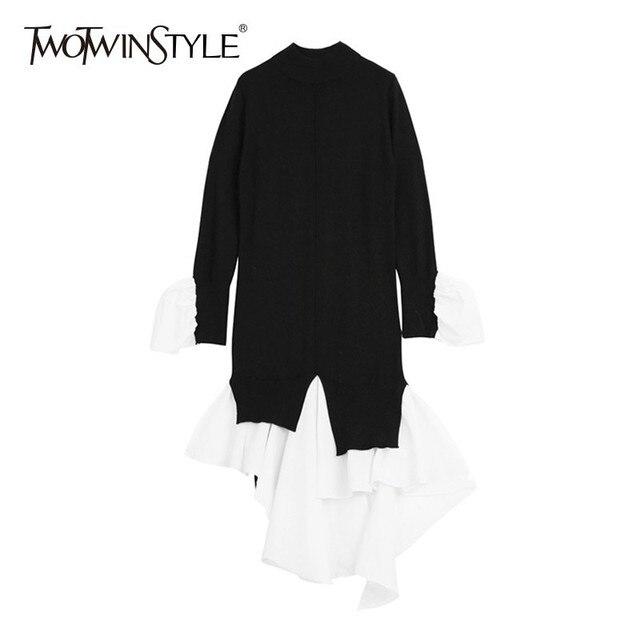 TWOTWINSTYLE טלאי נשים של סוודר התלקחות ארוך שרוול להיט צבעים סדיר ארוך סריגת סוודר חולצות נקבה 2018 סתיו