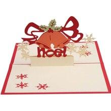 JIELISI 3D Pop Up Merry Christmas bell Handmade Custom Greeting Cards Gifts Souvenirs