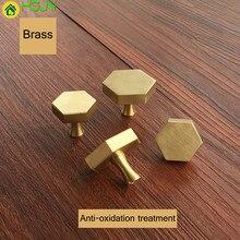 1 pc gold Antique Brass Hexagon  Knobs Cabinet Knob Handle Dresser Drawer Pulls Kitchen Furniture Hardware