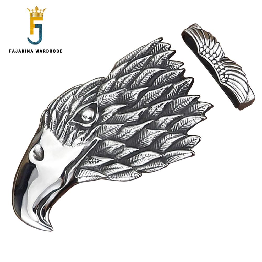 FAJARINA Unique Design Plate With Silvery Retro Slide Style Belt Buckles For 3.6-4.0cm Width Eagle Smooth Belts Buckle BCK046