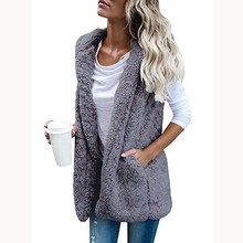 Autumn Winter Sexy Women Pocket Cardigan Waistcoats Outwear Casual Zip Up Teddy Vest Fashion Female Warm Hooded Vest Jacket