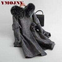 winter tweed Wool coat women long natural raccoon fur collar hooded overcoat female Thick Warm Plus cotton liner Jacket Outwear
