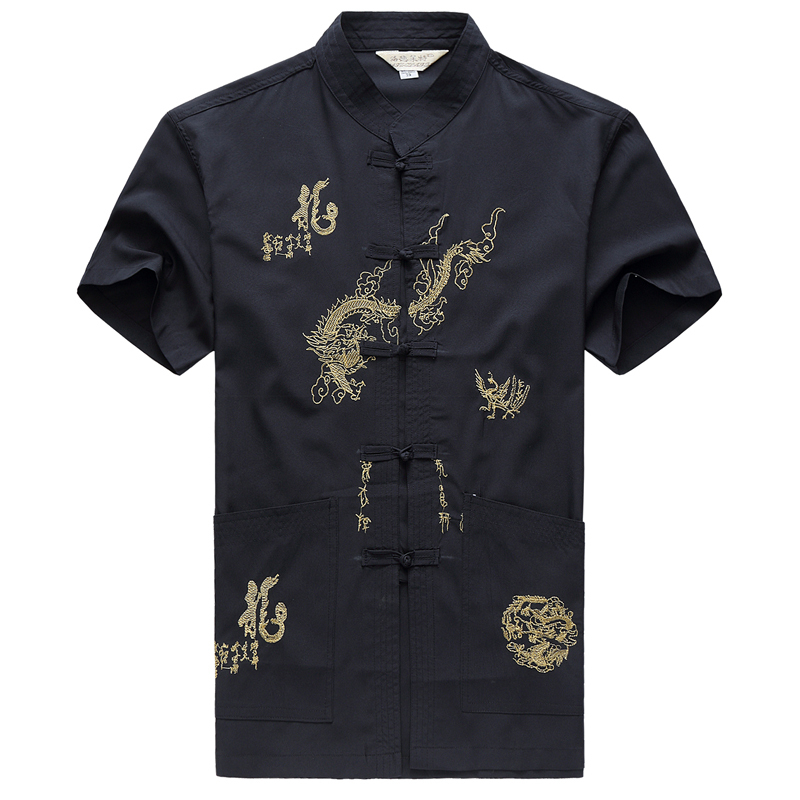 Embroidery Chinese Clothing For Men Short Sleeve Shirt Chinese Traditional Cotton Kung Fu Clothing Tang Suit Men Chinese Tops