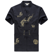 Embroidery Chinese Clothing For Men Short Sleeve Shirt Traditional Cotton Kung Fu Tang Suit Tops
