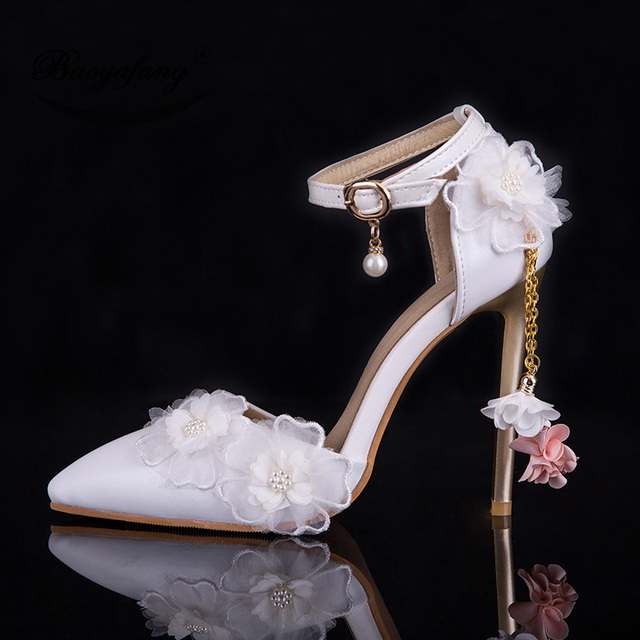 BaoYaFang 11cm High heeled Pointed Toe wedding shoes 2019 NEW ARRIVE Womens  Fashion Pumps white Lace 31b59ec9273a